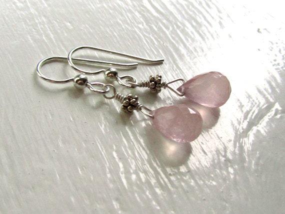 Blush Pink Crystal Earrings : Dusty Rose Quartz Earrings, Sterling Silver Dangle Earrings, Drop Earrings, Pink Earrings, Crystal Jewelry