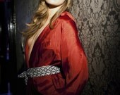 Silk Dressing Gown/Robe with Pockets and Tasseled Belt in Spicy Red, Wake up Glamorous.