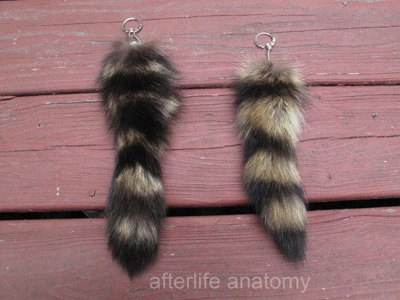 Raccoon Tail Keychain Recycled Totem Furry Fur Keyring Coon Racoon