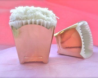 Gold Square Cupcake Favor Cup-2 Doz