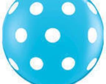 3 Foot Balloon Polka Dot Robin's Egg Blue w/Tassel