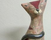 Ceramic Cat Sculpture