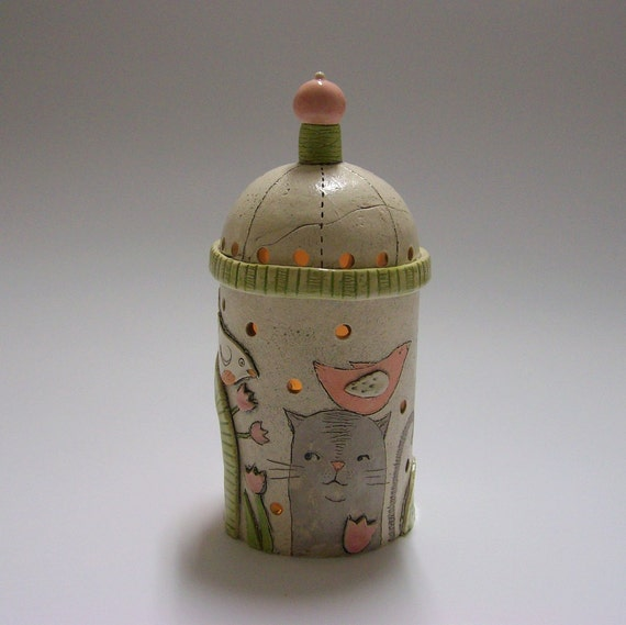 Holiday time - Lantern with Birds and Cats