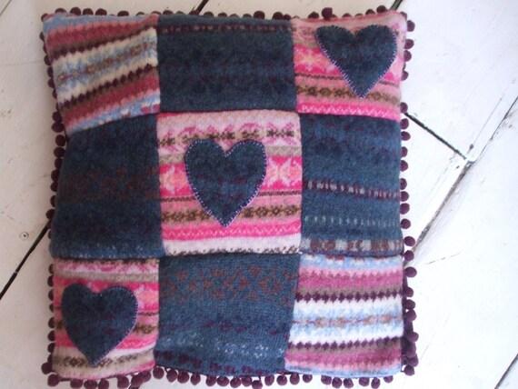 Handmade folksy heart fairisle velvet cushion cover