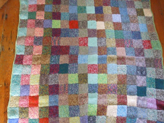 Vintage handknitted colourful squares wool large blanket throw