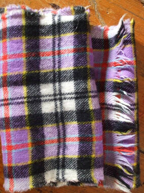 Vintage purple red black check wool vintage scarf