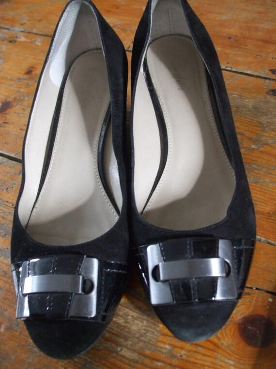 SALE 50% off Black suede low wedge shoes uk 6.5 , eu 40