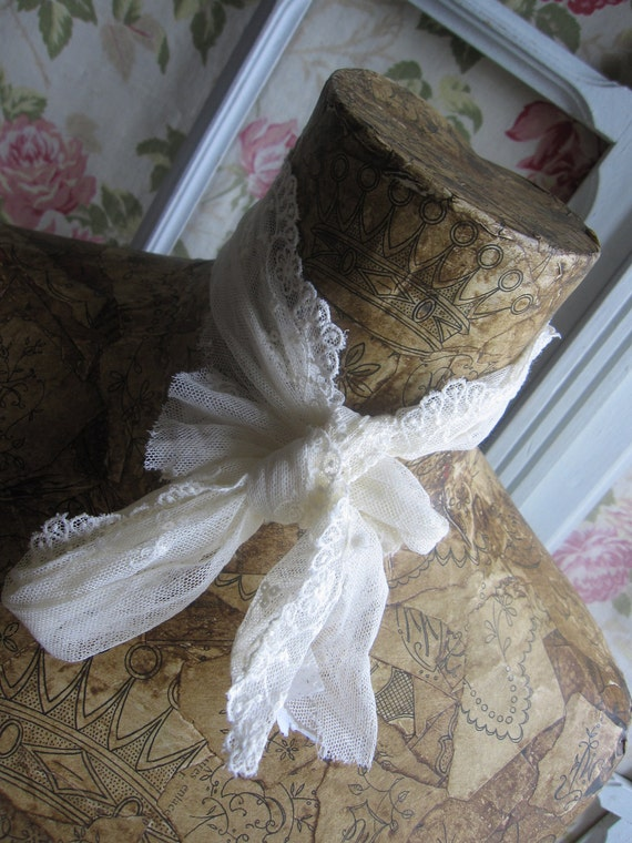 HUGE SALE X Superb vintage French Decoupaged Mannequin made by Miss Froufrou covered in old Monogrammes from 1919 Paris