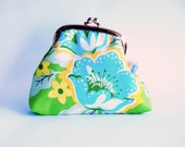 Framed Coin Pouch, in green, blue and yellow flower print