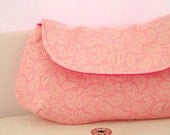 Wedding Clutch - Bridesmaid Clutch - Pink Pasley Clutch - Cotton Clutch Bag Snap Handbag