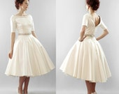 Christy - Silk duchess satin full skirt tea length wedding dress