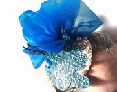 Blue swallow cocktail hat