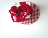 gingham fascinator hat red white rose