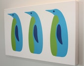 "Kids Wall Art Canvas Print 16x10 ""The Penguins"" Nursery Art"