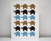 "Children Decor Stretched Canvas Print 12x16 ""The Elephants"" Brown & Blue Nursery Art"