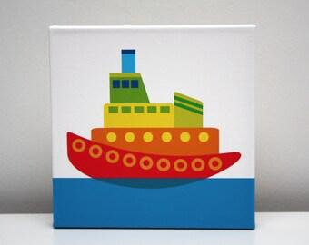 Kid's Wall Art Children Decor Tug Boat Stretched Canvas Print 8x8