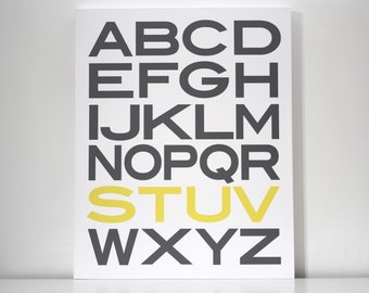 Large Alphabet Home Decor Canvas 24x30 Grey and Yellow