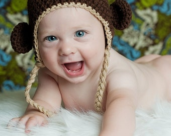 Little Monkey Earflap hat