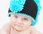 Lil' Punk Mohawk Hat in Black and Turquoise