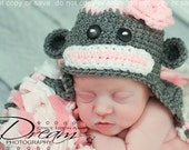 Newborn Sock Monkey Hat, Baby Sock Monkey Hat, Newborn Photo Prop, Baby Photo Prop, Girl Sock Monkey Hat, Baby Shower Gift, Baby Gift