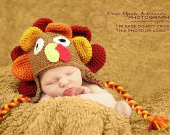 Baby Turkey Hat, Newborn Turkey Hat, Newborn Photo Prop, Child Turkey Hat, Toddler Turkey Hat, Thanksgiving Hat, Baby Photo Prop