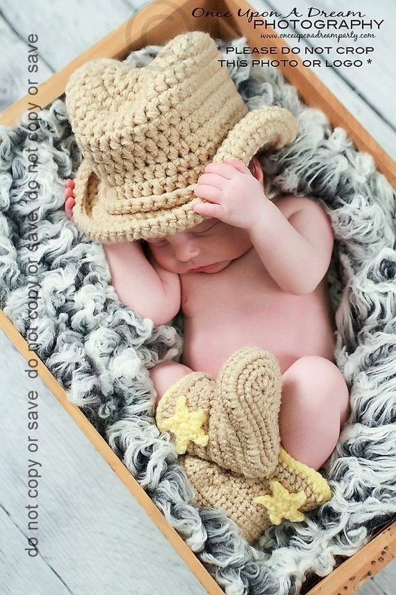 Newborn Photo Prop, Newborn Cowboy Hat and Boots, Baby Cowboy Hat and Boots, Baby Cowboy Boots, Crochet Cowboy Set, Baby Shower Gift