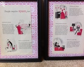 1961 Hot Pink Better Homes and Gardens Prints Set of 2 Framed
