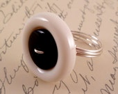 FREE SHIPPING - Black and White Stacked Button Wire Wrapped Ring - Any Size - 4, 5, 6, 7, 8, 9, 10, 11, 12, 13, 14