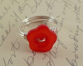 FREE SHIPPING - Bright Red Flower Button Wire Wrapped Ring - Any Size - 4, 5, 6, 7, 8, 9, 10, 11, 12, 13, 14