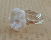 FREE SHIPPING - White Flower Button Wire Wrapped Ring - Any Size - 4, 5, 6, 7, 8, 9, 10, 11, 12, 13, 14