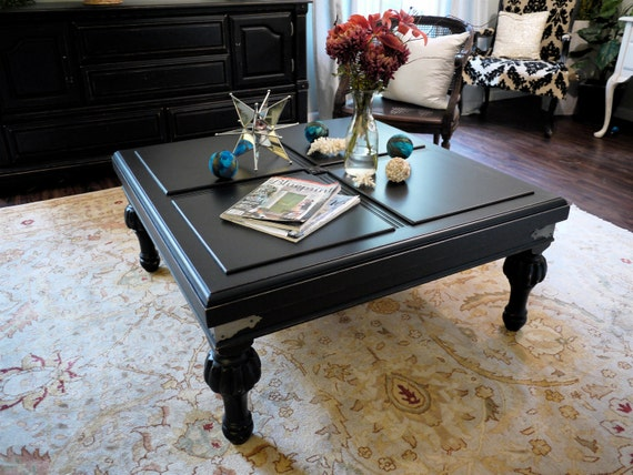 Black Distressed Coffee Table With Chunky Legs
