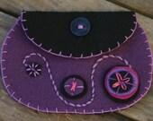 Purple pinwheel felt coin purse/ Borsetta ovale