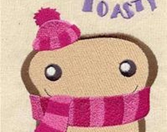 Feeling Toasty embroidered feeding bib.