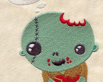 Zombie Baby embroidered feeding bib.