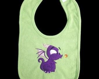 Baby dragon embroidered bib