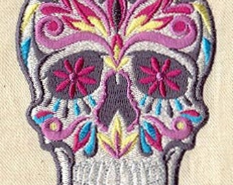 Colorful Sugar Skull embroidered bib