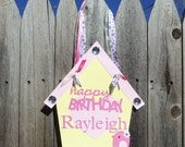 LITTLE BIRDIE Birthday or Baby Shower Hanging Door Sign in Yellow Pink Purple - Customize Your Way