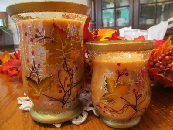 Soy Candle, Butter Pecan Pie, In Crackle Glass Fall Containers, Hemp Wicks