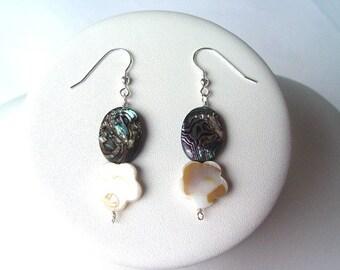 E673  Paua Shell & Mother-of-Pearl Earrings