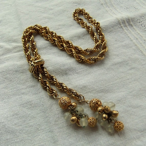 Vintage Gold Rope Twist Lariat Necklace with Glass & Gold Filigree, adjustable
