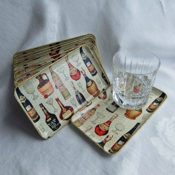 8 Vintage Paper Mache Cocktail Party Trays