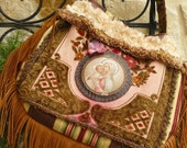 Bohemian Delight....Carpet Bag/Purse with Leather Fringe and French Tapestry/Boho/Bohemian