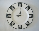 Owl Clock Round Plate Black and White Owls Wall Hanging or Shelf Dish