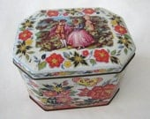 Vintage Courting Couple Floral Daher Rectangular Tea Caddy Tin Container Box England