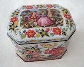 Vintage Courting Couple Floral Daher Rectangular Tea Caddy Tin Container Box England