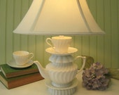 "White Teapot Lamp, Swirled Pattern Tea Cup and Saucer, ""Alison"" Series, Alice in Wonderland Shabby Chic Country Beach  Cottage"