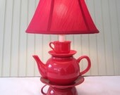 Teapot Lamp, Red Stacked Teapot and Tea Cup, Shabby Chic Country French Cottage Alice in Wonderland Inspired