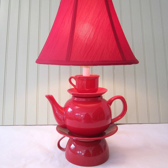 Teapot Lamp Red Stacked Teapot And Tea Cup Shabby By