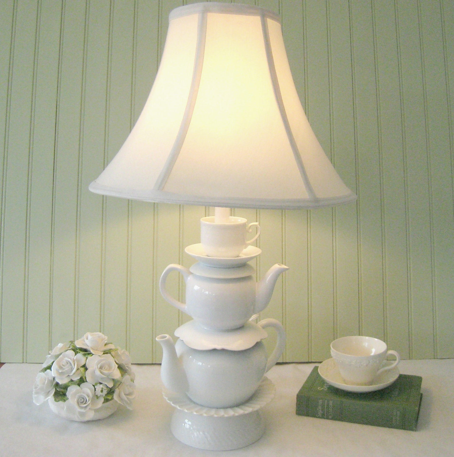 Stacked Teapot Lamp White Teapots And Tea Cup By Thistleandjug