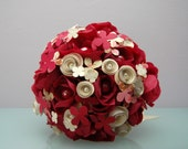Paper Flower Bouquet - Cranberry Red and Ivory Paper Flowers